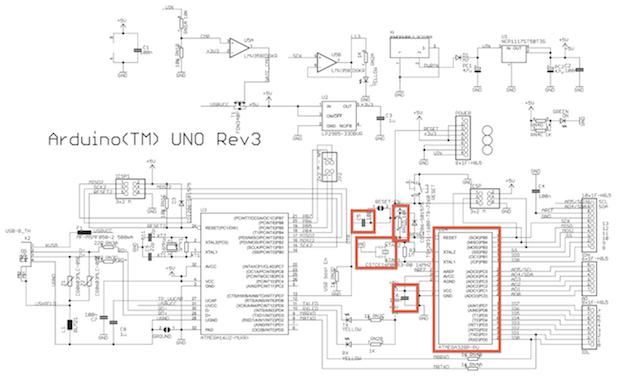 Kompletní schéma desky Arduino Uno R3